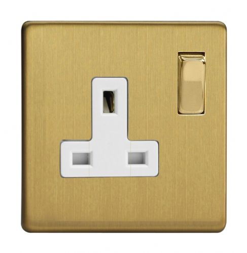 Varilight XDB4WS Screwless Brushed Brass 1 Gang 13A DP Single Switched Plug Socket